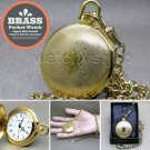 Gold Antique Pocket Watch Solid Brass 42 MM with Fob Chain Gift Box Unisex P259