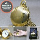 Gold Pocket Watch Solid Brass 42 MM with Fob Chain Swivel Clip Box Unisex P261