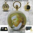 14K Gold Germany Friedrich Schiller Enamel Pocket Watch Chain Leather Pouch Box