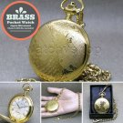 GOLD Pocket Watch Brass Men 47 MM with Fob Chain Swivel Clip and Gift Box P255