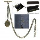 Albert Chain Pocket Watch Curb Link Chain Antique Brass Letter U Fob T Bar AC91