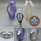 LINDA DANO Silver Women Wrist Watch Set + 2 Interchange Acrylic Bangle WL43