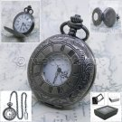 BLACK Pocket Watch Antique Men 47 MM Half Hunter with Fob Curb Chain & Box P140