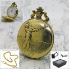 """GOLD Antique Pocket Watch GOLF Pattern Men 47 MM with 14"""" Fob Chain & Box P223"""