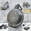 Silver Pocket Watch Antique Men 47 MM with 14 Inches Fob Chain and Gift Box P207