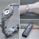 Marcasites Watch Women Japan Quartz Brass Bracelet Silver Pewter Ladies Gift 07