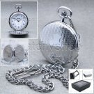 Silver Pocket Watch Antique Slim Men Big Size 47 MM with Fob Chain Gift Box P76