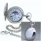 Silver Pocket Watch Moon Phase Brass 47 MM Japan Quartz Fob Chain Gift Box P50PR