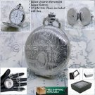 Silver Pocket Watch Slim Size 42 MM with Fob Curb Link Chain Gift Box Unisex 172