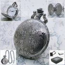 Silver Antique Pocket Watch Men 47 MM Pewter Design with Fob Chain and Box P222