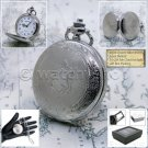 SILVER Pocket Watch Antique 42 MM Slim with Fob Chain and Gift Box Unisex P191