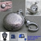 """Silver Women Pendant Watch 2 Ways Usage 28"""" Necklace and Key Chain Gift Box L30"""
