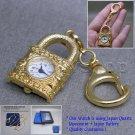 Gold Women Pendant Pocket Watch Locket Design 2 Ways with Necklace Key chain L41