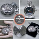 Compass Pocket Watch Style Liquid Fill Outdoor Camping Hiking with Key chain CP3