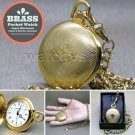 GOLD Pocket Watch Solid Brass 42 MM with Fob Link Chain and Gift Box Unisex P257