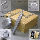 Silver Pocket Watch Solid Brass 42 MM with Folding Knife Fob Chain Wood Box P241