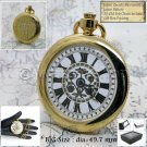 GOLD Pocket Watch Open Face Big Size 50 MM with Fob Link Chain and Gift Box P197