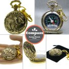 Compass Pocket Watch Style Gold Horses design Liquid Camping Hiking Key chain 36