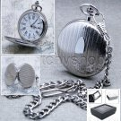 Silver Pocket Watch Bid 47 MM Slim Solid Brass Case with Fob Chain Gift Box P75