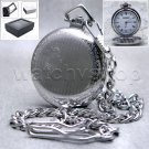 Silver Pocket Watch Solid Brass 41 MM with Curb Link Chain and Gift Box P101