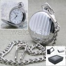 Silver Pocket Watch Solid Brass 42 MM with Fob Chain and Gift Box Unisex P94