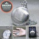 SILVER Antique Pocket Watch Brass Case Japan Miyota Movement on Chain Box P270