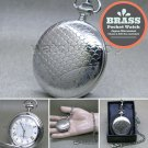 SILVER Pocket Watch Men Big 47 MM Solid Brass Case with Fob Chain Gift Box P268
