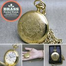 GOLD Pocket Watch Solid Brass Big 47 MM with Curb Link Chain and Gift Box P271