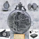 FISHING Silver Pocket Watch Size 47 MM Men Gift with Fob Chain Gift Box  P229