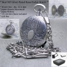 SILVER Pocket Watch Brass 42 MM 1- Micron thick Silver with Chain Gift Box P100
