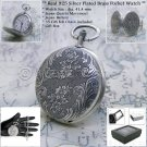 Silver Pocket Watch 41 MM Brass 10 Micron Thick Silver Plated Fob Chain Box P102