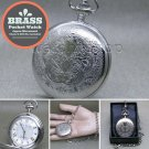 SILVER Pocket Watch Big 47 MM Solid Brass Case with Fob Chain and Gift Box P272