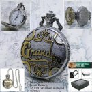 GRANDPA Silver Pocket Watch Father Men Gift Big 47 Mm with Fob Chain Gift Box 23