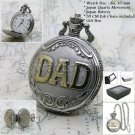 Antique Silver Pocket Watch DAD Father Men Gifts 47 MM Chain and Gift Box P24