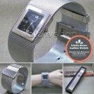 LINDA DANO Silver Women Bangle Wrist Watch Square Stainless Steel Mesh Band WL45