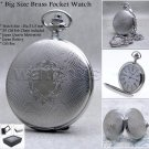 Silver Pocket Watch Brass Big 51 MM Antique Men with Fob Chain and Gift Box P108