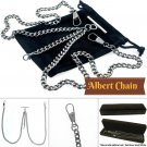 Silver Color Double Albert Chain Pocket Watch Chain T Bar Lobster Clasp AC20