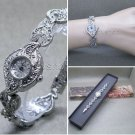 Silver Marcasite Watch Women Japan Quartz Brass Bracelet Stainless Steel back 15