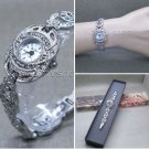Silver Marcasite Watch Women Japan Quartz Brass Bracelet Stainless Steel back 11