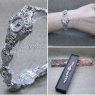 Silver Marcasite Watch Women Japan Quartz Brass Bracelet Stainless Steel back 10