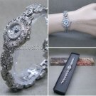 Silver Marcasite Watch Women Japan Quartz Brass Bracelet Stainless Steel back 08