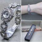 Silver Marcasite Watch Women Japan Quartz Brass Bracelet Stainless Steel back 13