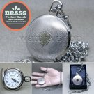 SILVER Solid Brass Antique Mens Fashion Pocket Watch Fob Chain Gift Box P260