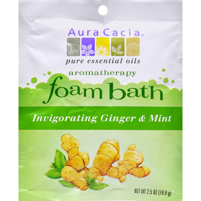 Aura Cacia Foam Bath Invigorating Ginger and Mint - 2.5 oz - Case of 6