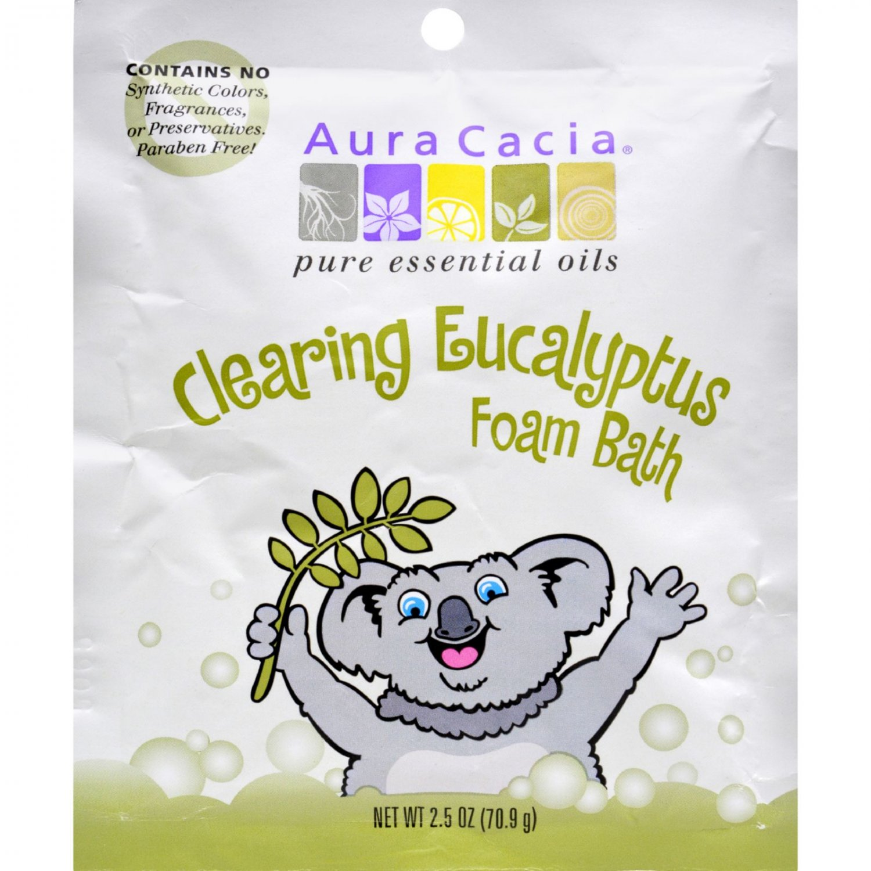 Aura Cacia Clearing Foam Bath - Eucalyptus - Case of 6 - 2.5 oz