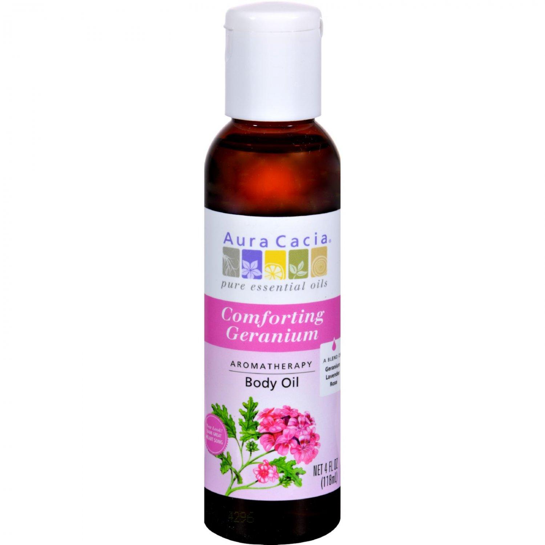 Aura Cacia Aromatherapy Body Oil Comforting Geranium - 4 fl oz