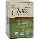Choice Organic Teas Premium Japanese Green Tea - 16 Tea Bags - Case of 6