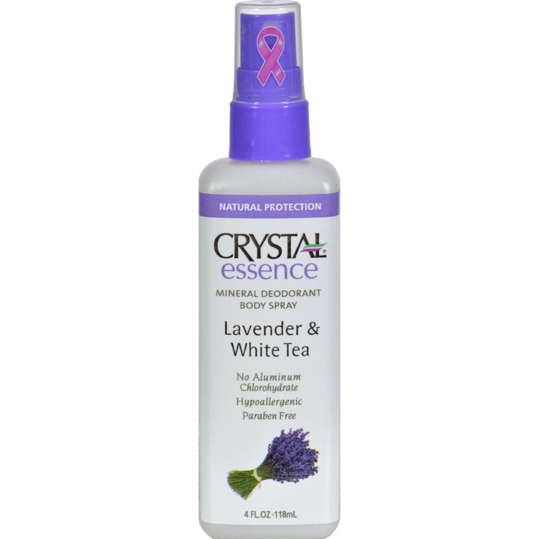 Crystal Essence Mineral Deodorant Body Spray Lavender And White Tea - 4 fl oz