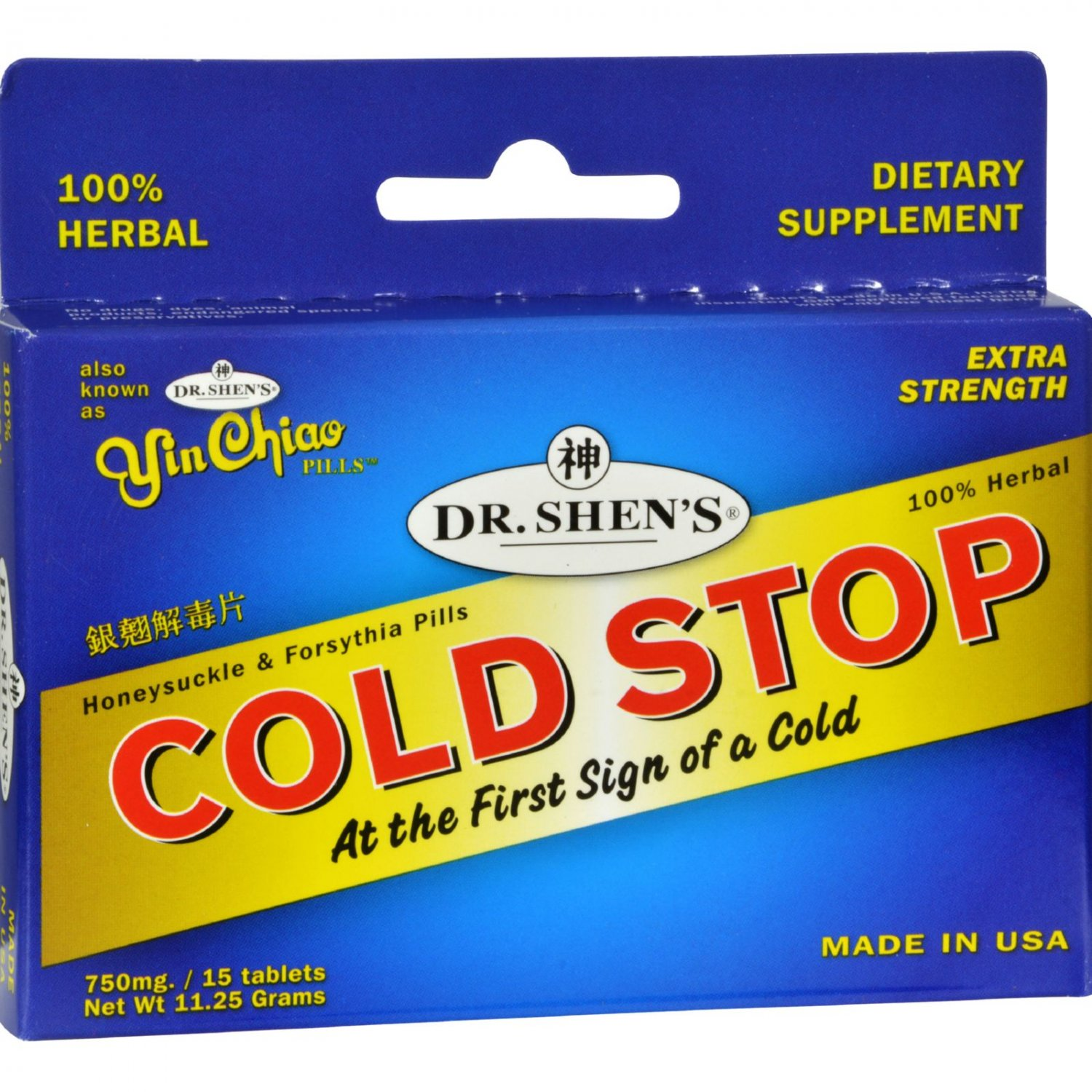Dr. Shen's Yin Chiao Coldstop Cold or Flu - 15 Tablets