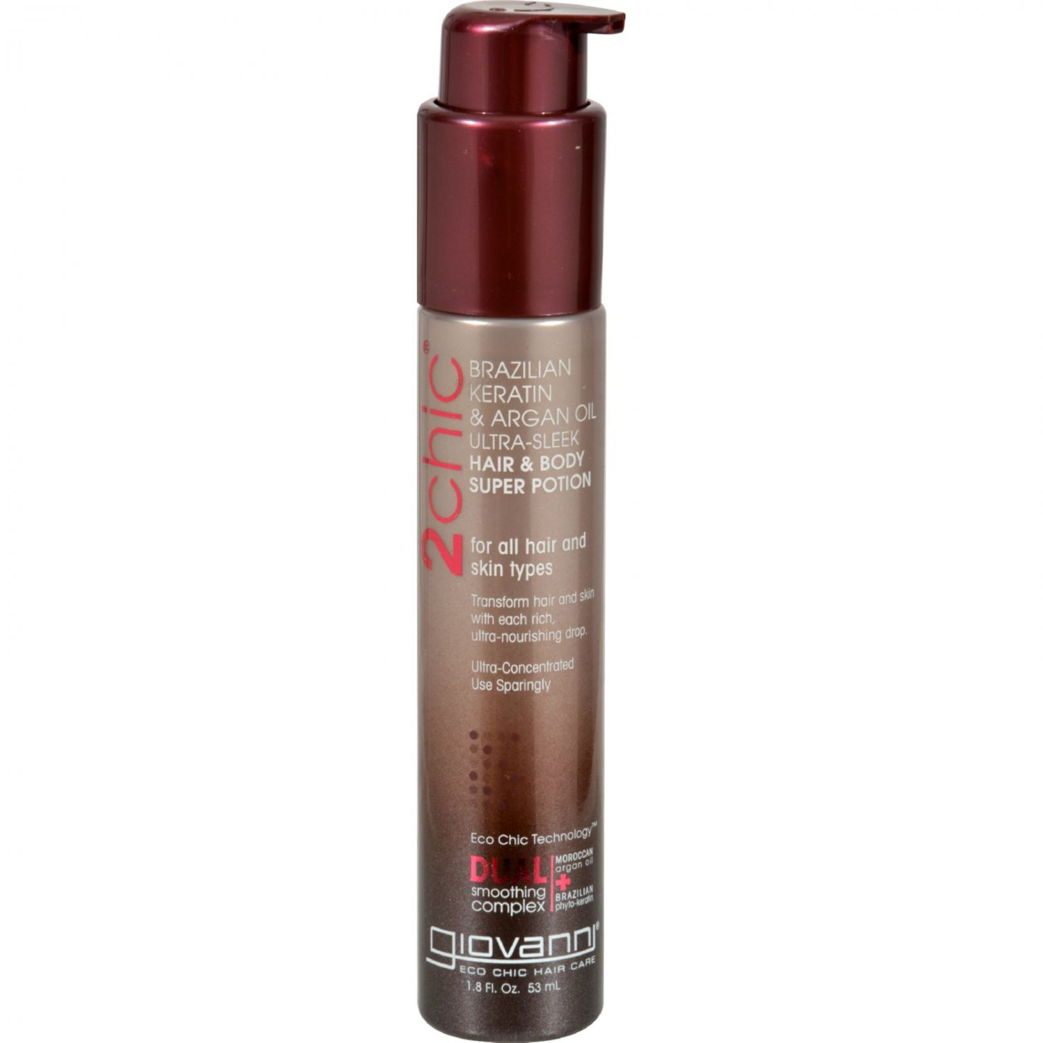 Giovanni 2chic Ultra-Sleek Hair and Body Super Potion with Brazilian Keratin and Argan Oil - 1.8 fl